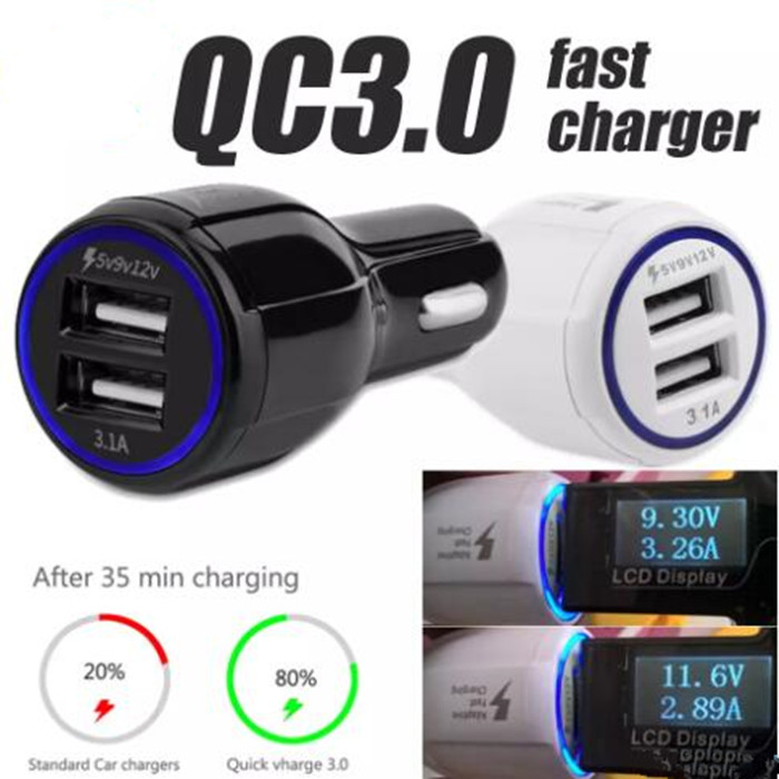 Quick Charge 2 0 Fast charging Dual 3 1A USB Car Charger for iPhone for Samsung