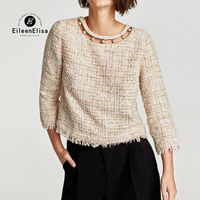 Autumn Winter Women Blouse Shirt 2017 Pearl Beading Neck Tops With Tassel Side Vintage Pulloves