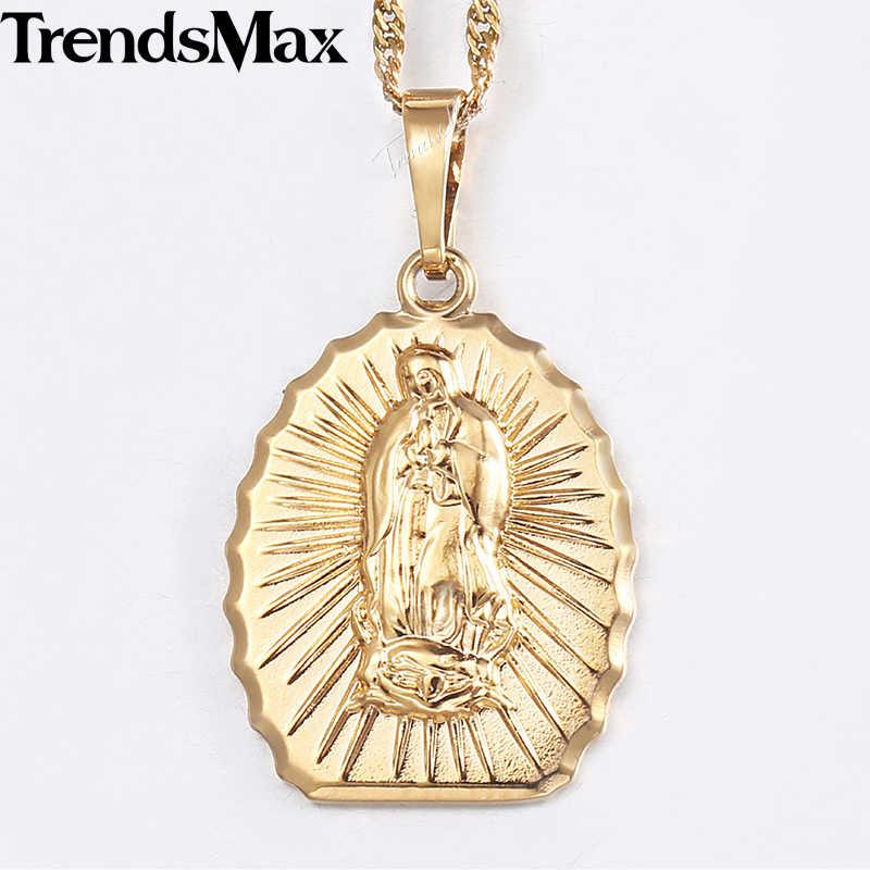 จี้ผู้หญิงสร้อยคอแชมเปญ Gold Holy Light คาทอลิกศาสนา Virgin Mary จี้สำหรับสตรีแฟชั่นเครื่องประดับของขวัญ KGP315