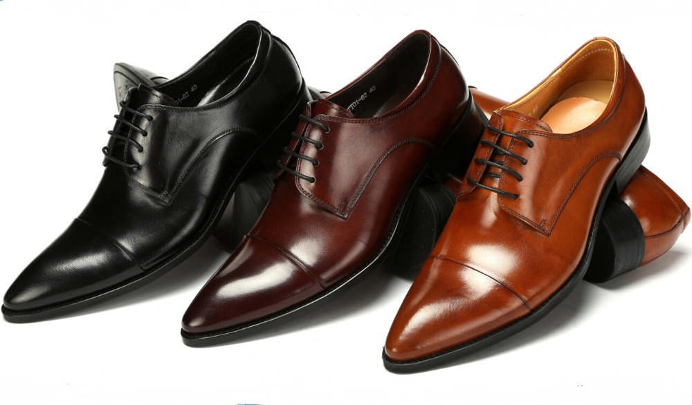 Fashion Black Brown Tan Derby Shoes Mens Wedding Genuine Leather Business Dress In Formal From On