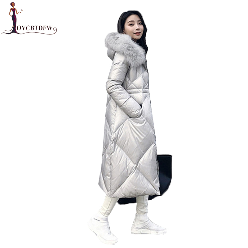 Women   Down   Jacket Autumn Winter parkas 2018 New Long Female   Coats   High Quality Fox fur collar Duck   Down   Outerwear   Coats   NO769