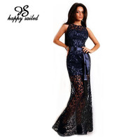 Navy Lace Satin Patchwork Party Maxi Dress LC6809