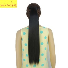 2 Piece Xi.rocks Synthetic Hair Ponytail 55cm Ribbon Clip Ponytails 90g Straight Hairpiece Tail Hair Extension Jet Black Color 1(China)