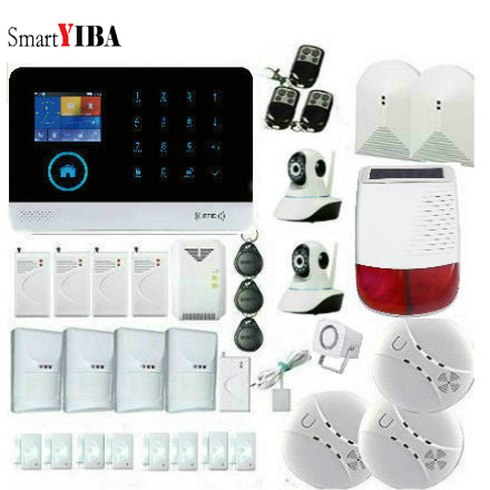 SmartYIBA RFID GSM Alarm System WIFI Home Security Alarma Shock/Smoke/Gas Sensor IP Camera Surveillance Solar Powered Siren yobang security gsm wifi auto dial home alarm system rfid tags intelligent alarma kits glass break sensor strobe siren sensor