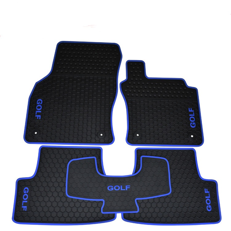 RHD right hand drive rubber car floor mats for GOLF 6/7 with GOLF logo green latex no odor non slip waterproof
