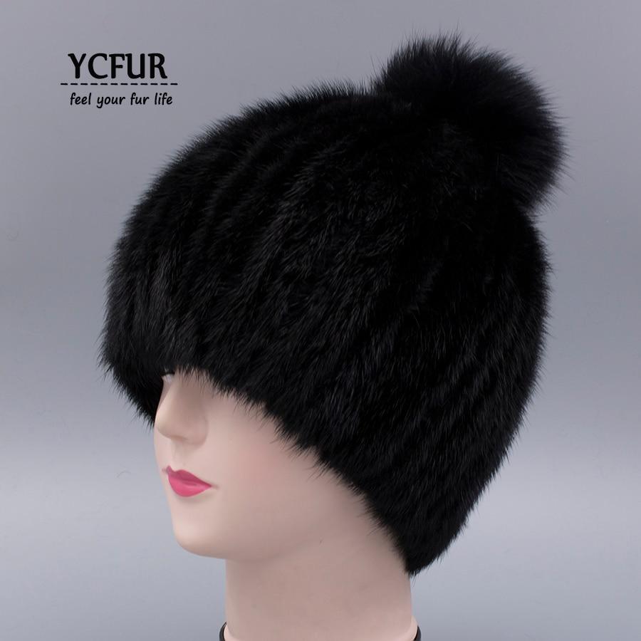 YCFUR Winter Caps Hats Women Stripes Genuine Mink Fur Hats Beanies Winter Warm Classic Fox Fur Pom Female Cap Muff gorros 6 medium to dark
