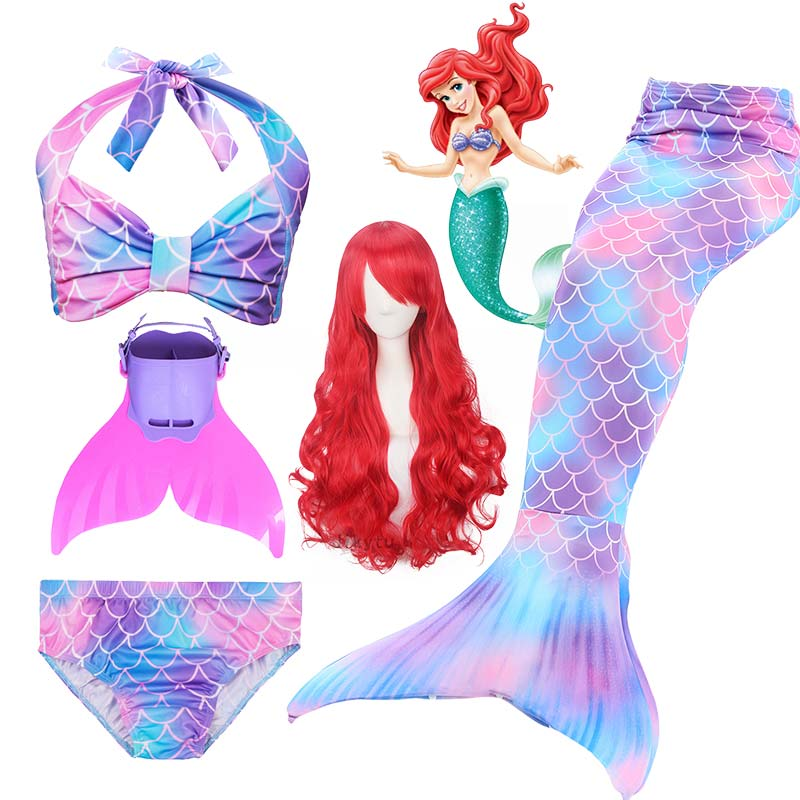Kids Girls Mermaid Tails For Swimming Fin Swimsuit Bathing Suit Tail Mermaid Wig for Girls Costume Can Add Flipper Monofin