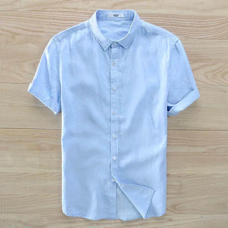 Новое поступление 2018, летняя льняная рубашка с коротким рукавом, Мужская брендовая модная льняная рубашка с отложным воротником, небесно-голубая рубашка, Мужская сорочка