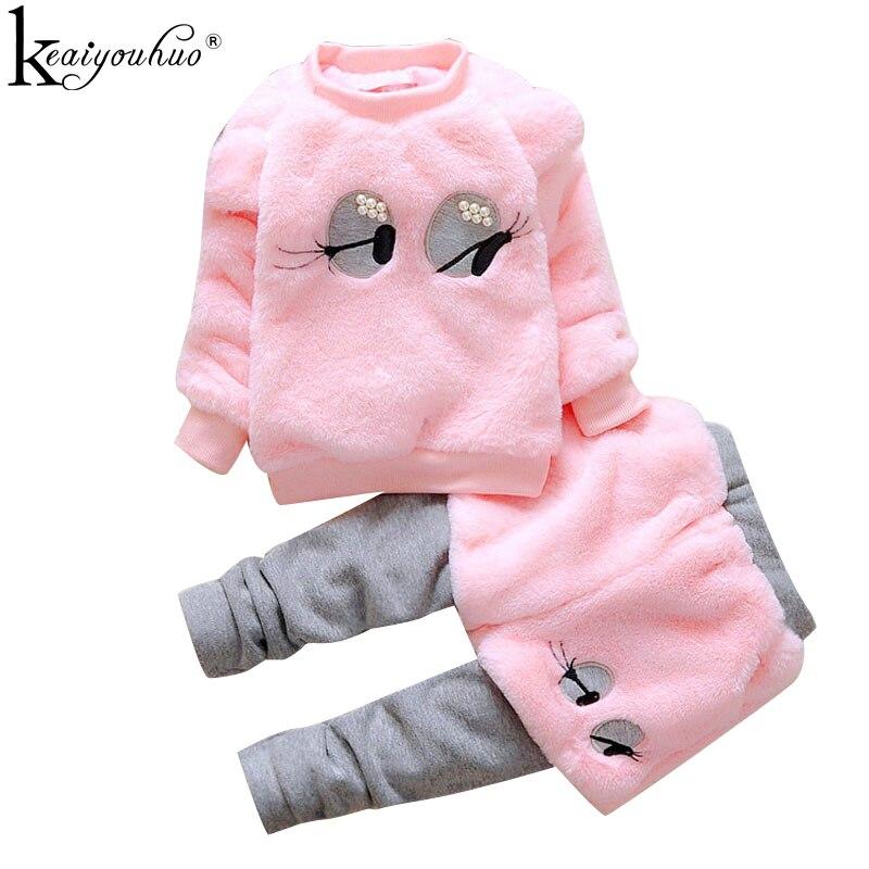 בנות בגדים סטים ארוך שרוול ספורט חליפת חורף תינוקת בגדי סטי כותנה אימונית לילדים תלבושת חליפות ילדי בגדים
