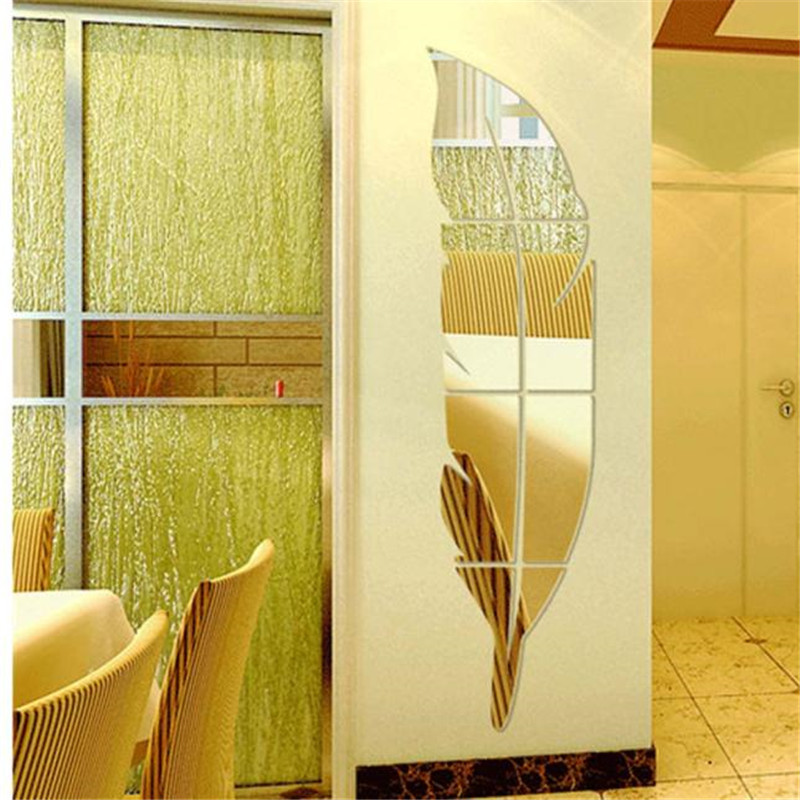 Feather Mirror Acrylic Wall Sticker Poster Home Decor Toilet Bathroom Bedroom Living Room Wall Stickers Decals Home Decoration