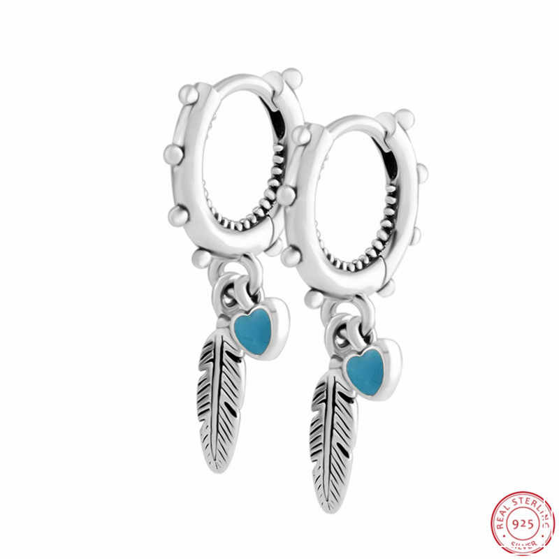 Turquoise Earrings feathers sterling silver 925 Boho style