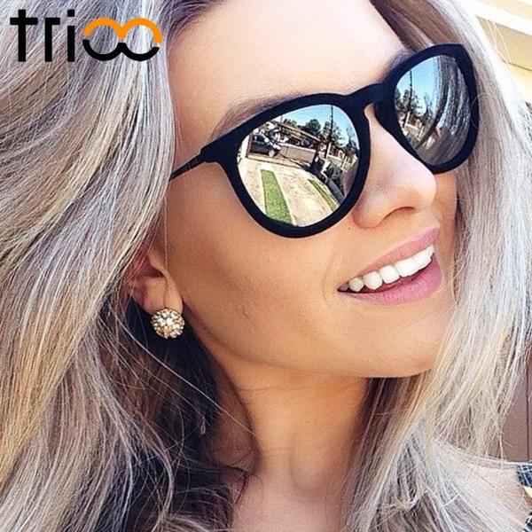 TRIOO Для женщин солнцезащитные очки поляризованные Брендовое, дизайнерское зеркало Óculos UV400 Модные солнцезащитные очки для женщин черный про...