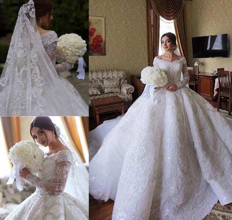 2019 Princess Luxury Full Lace Wedding Dress African Saudi Arabic Dubai Long Sleeve Church Formal Bride Bridal Gown Plus Size