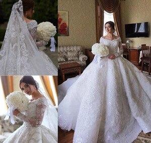 Image 1 - 2020 принцесса, роскошные ювелирные изделия из чистого кружевное свадебное платье в африканском стиле саудовско Аравийский Dubai длинный рукав церкви вечернее платье невесты свадебное платье размера плюс