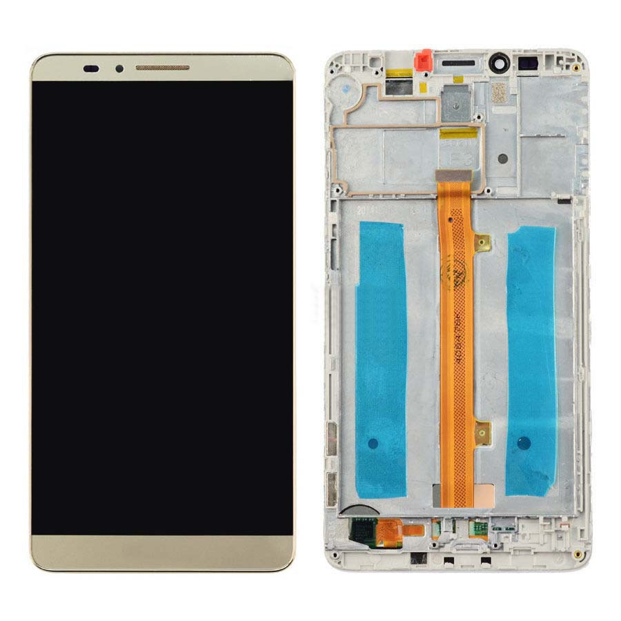 +Frame Gold LCD Display + Touch Screen Digitizer Assembly Replacement For Huawei Ascend Mate 7 Free Shipping