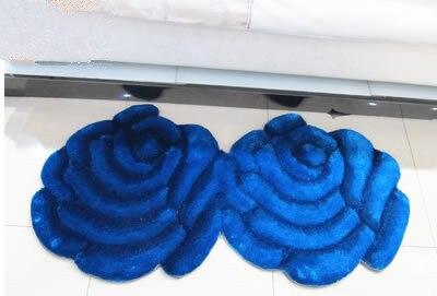 Модный креативный ковер в форме цветка Европейский 3D двойной розовый ковер для украшения гостиной спальни нежный персональный мягкий коврик - Цвет: Blue