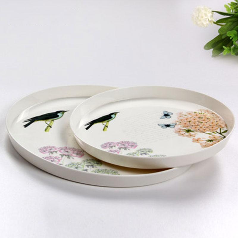 Multifunktionell europeisk runda matservisbricka Vacker matplatta te - Hemlagring och organisation
