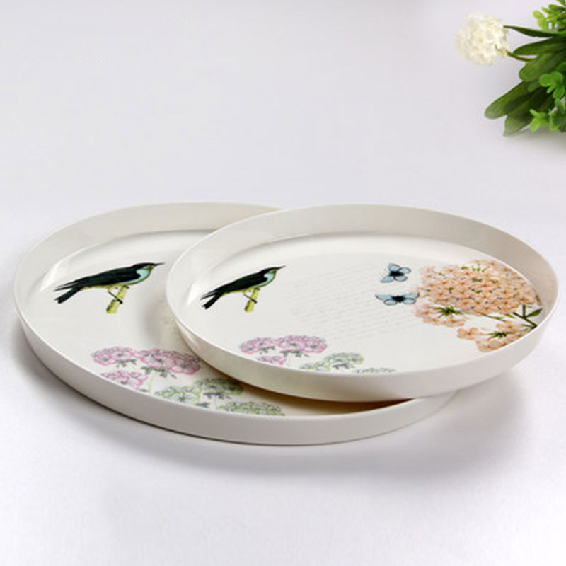Multi-functional European Round Food Serving Tray Beautiful Dinner Plate Tea Coffee Tableware Storage Tray Two Size & ღ Ƹ̵̡Ӝ̵̨̄Ʒ ღMulti-functional European Round Food Serving Tray ...