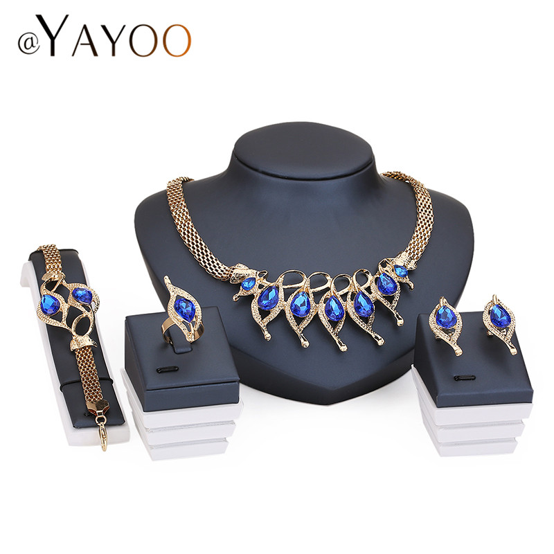 African Beads Wedding Accessories Jewelry Sets Fashion Style Crystal Gold Plated Bridal Necklace Bracelet Earrings Rings Set