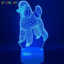 3d Led Night Light Lamp Dog Poodle Home Decoration Crafts Color Changing Child Baby Bedroom Nightlight Kids Birthday Gift