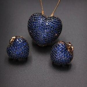 Image 2 - Collares con colgante de circonia en forma de corazón para mujer, Micro pendientes de circonia Multicolor, juegos de joyas para mujer, Charm, joyería para fiesta