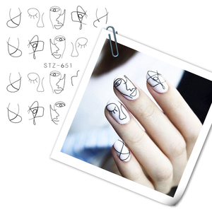 Image 2 - Full Beauty 1 Sheet Nail Water Sticker DIY Black Abstract Image Nail Art Paper Decoration Manicure Style Tool CHSTZ651 53
