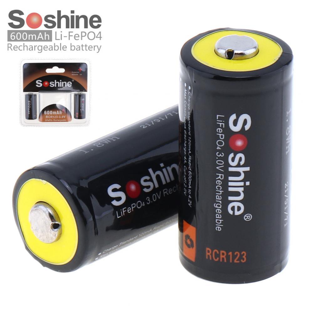 RCR123 LiFePO4 3 2pcs Soshine 600 V 16340 mAh Bateria Recarregável com PCB Protegido por LED Lanternas Faróis