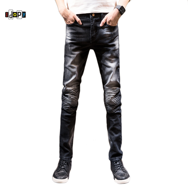 Idopy Men`s Ripped Biker Jeans Vintage Acid Washed Slim Fit Super Skinny Stretchy Denim Pants Pencil Jeans For Youth men s skinny slim denim washed hip hop jeans vintage ripped biker classic slim pants relaxed fit bootcut jeans mens