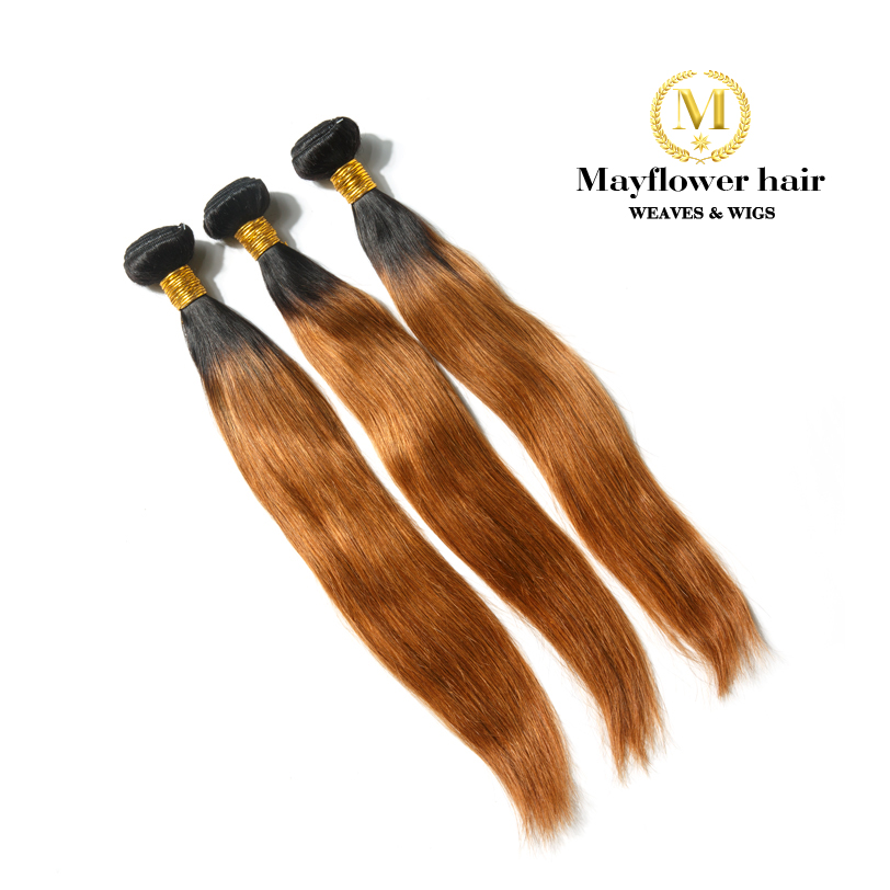Mayflower 1/2/3/4 Bundles Two Tone 1b/30 Straight Remy Human Hair Weaves Can Be Restyle No Tangle No Shedding 12'-24
