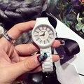 Novas Mulheres Da Moda Relógios 3 Estilo Dial Pulseira de Cerâmica Super Fino Elegante Vestido De Luxo Relógio de Quartzo Das Senhoras do relógio de Pulso relojes