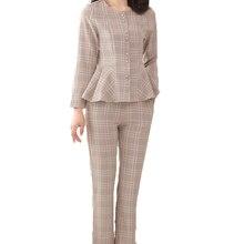 Autumn Woman Elegant 2PCS Pant Suit Set Khaki Blue Plaid Twinset Outfits Women Peplum Blouse And Truoser Lady Business Sets