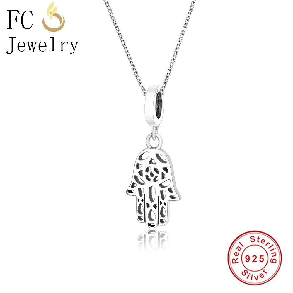 FC Jewelry 925 Sterling Silver Cute Small Hollow Palm Pendants & Necklaces Chain European Women Chokers Trinket Christmas Gift