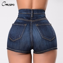 CWLSP High Waist Cotton Jeans Shorts 2019 Womens Summer Denim Sexy Slim Size PlusHole Femme Hot  QZ2637