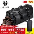LIELANG bolso de viaje Negro para hombre bolsa de viaje de cuero impermeable de gran capacidad de viaje Duffle multifunción bolso bandolera Casual