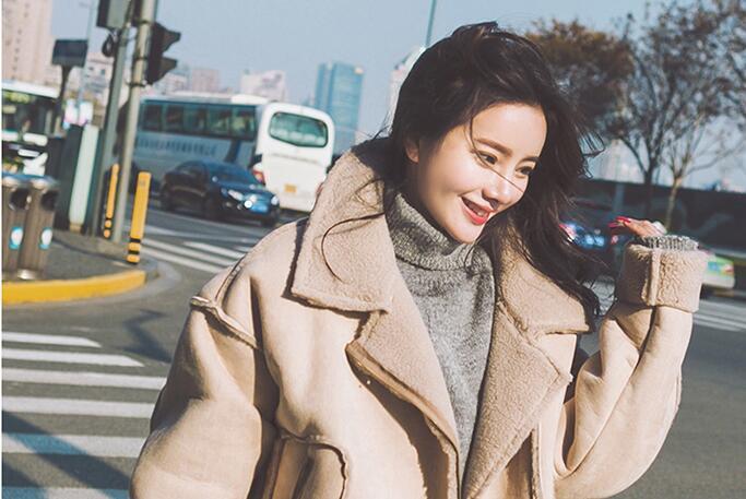 Coréenne Courtes Épais Solide D'agneau Manteau Femmes Casual Parkas Laine Photo Chaud Color H511 Femme Veste Mode Coton Hiver En n06ISE