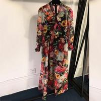 2019 Модные платья с принтом повседневное летнее шелковое платье напольные высокого качества длина шелковое платье 2019 женское винтажное дли