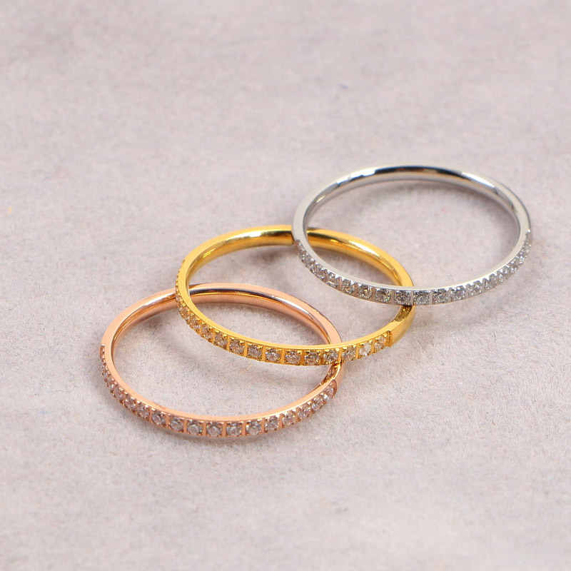 YUN RUO 2020 Yellow Gold Colors Half Circle Crystal CZ Couple Rings Woman Man Wedding Jewelry 316 L Stainless Steel Never Fade