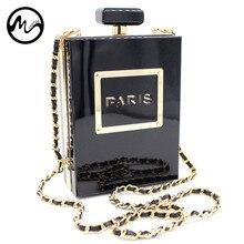 Minch Frauen Crossbody Taschen Parfüm Flasche Schulter Kette Tasche Schwarz Paris Acryl Heiße Verkäufe Damen Tasche