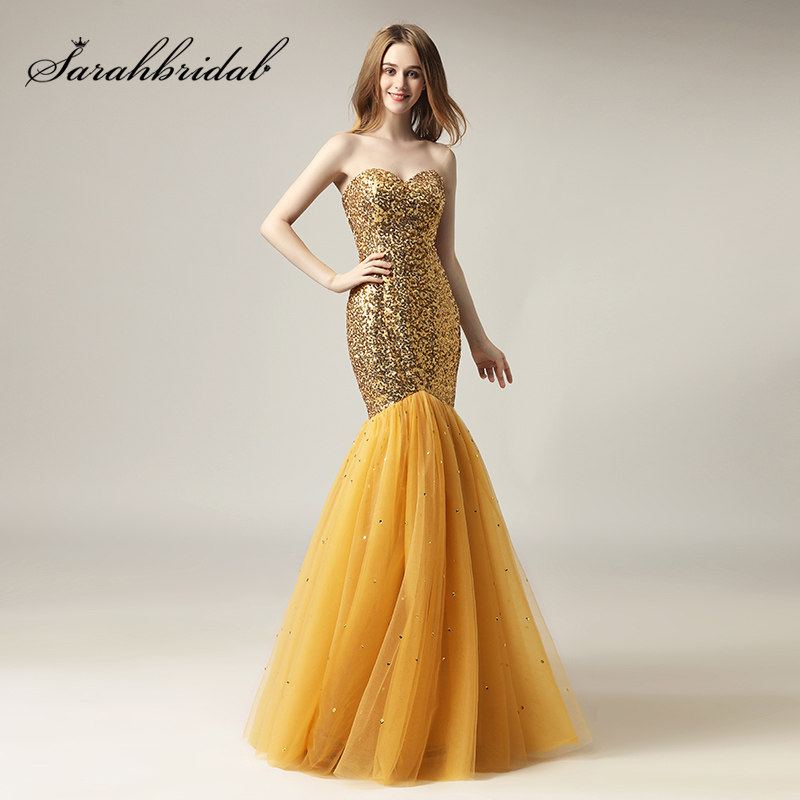 New Arrival Gold Sparkly Sequin Long Celebrity Dresses Tulle Sweetheart Red Carpet Dress Formal Women Pageant