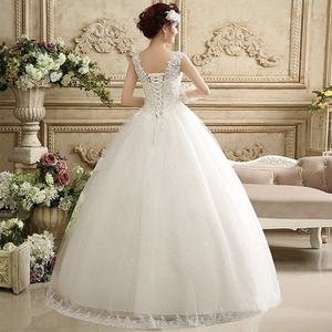 Image 3 - Fansmile vestido de noiva com pérolas, vestido de baile, de princesa, branco 2020, plus size, de casamento FSM 643F
