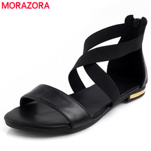 MORAZORA 2020 Genuine Leather Women Sandals Hot Sale Fashion Summer Sweet Women Flats Heel Sandals Ladies Shoes Black