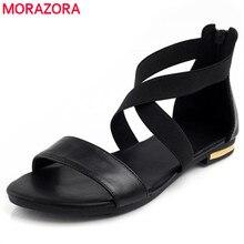 MORAZORA 2020 جلد طبيعي النساء الصنادل Hot البيع موضة الصيف الحلو المرأة الشقق كعب الصنادل السيدات أحذية أسود