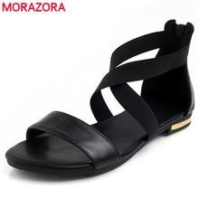 Morazora 2020 本革の女性のサンダルホット販売ファッション夏甘い女性フラットヒールサンダルの女性の靴黒