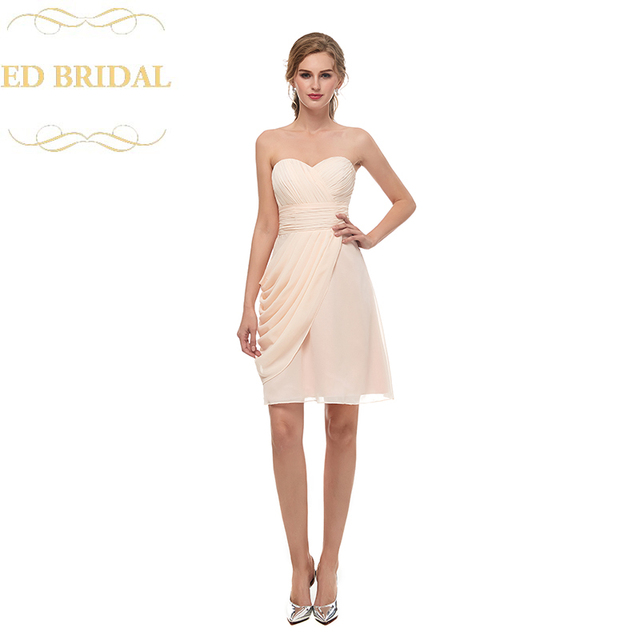 Sweetheart Chiffon Blush Pink Short Bridesmaid Dress Wedding Party Gown Tail Plus Size Included