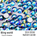 SS3-SS30 Jet Black AB Nail Art Rhinestones With Round Flatback For Nails Art Cell Phone And Wedding Decorations