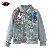 2018 new autumn women street light blue sequins jeans jackets long sleeve party punk hole loose enim coat