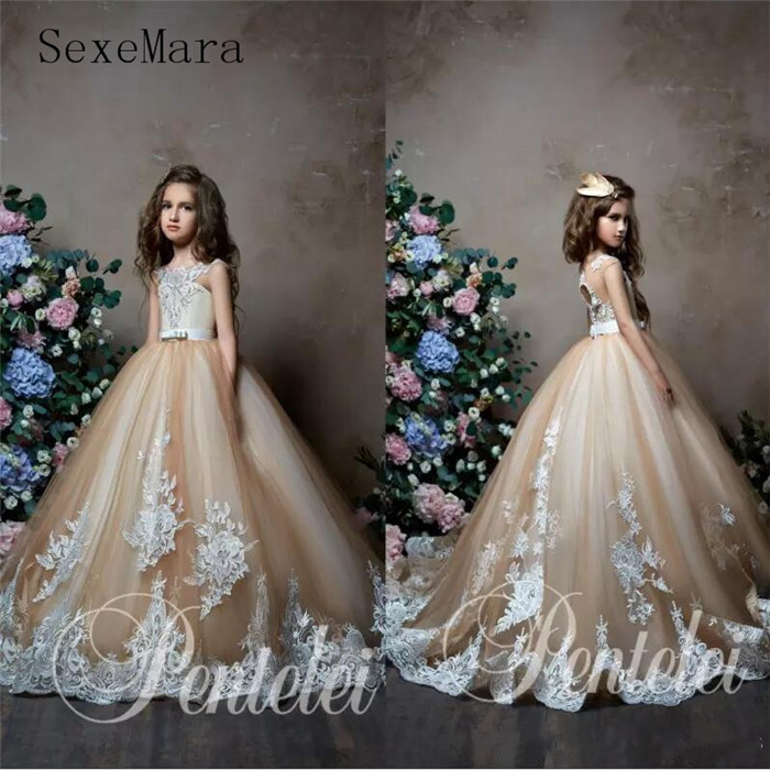 Flower Girl Dresses For Garden Weddings: 2019 New Champagne Flower Girl Dresses For Weddings Jewel