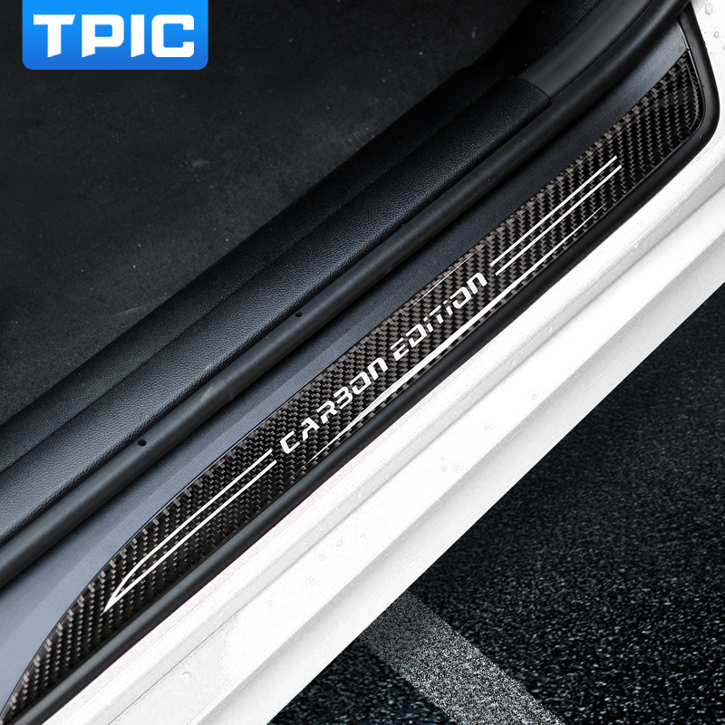 TPIC For bmw E90 Door Sill Scuff Plate Guards Carbon Fiber Door Sills Protector Car Stickers