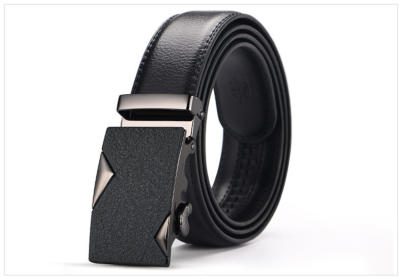 Men High Quality Genuine Leather Ratchet Slide Strap Brown Black Belts