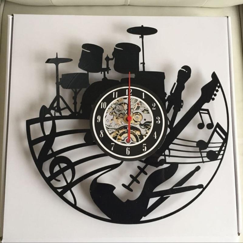 2017 Hot CD Vinyl Record Wall Clock Modern Design Musical Theme Decorative Black Art Watch Clock